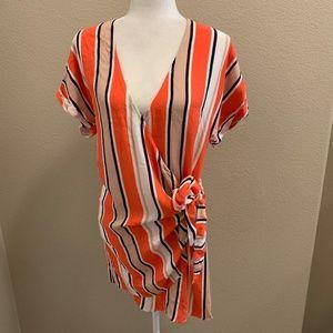 Skylar + Madison Orange / Taupe Wrap Mini Dress